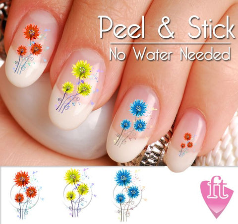 Poppy Flower Mix Nail Art Decal Sticker Set