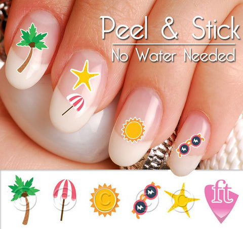 Summer Beach Ocean and Palm Tree Nail Art Decal Sticker Set