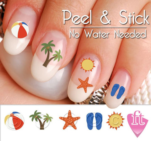 Summer Beach and Palm Tree Nail Art Decal Sticker Set