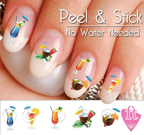 Summer Drink Nail Art Decal Sticker Set