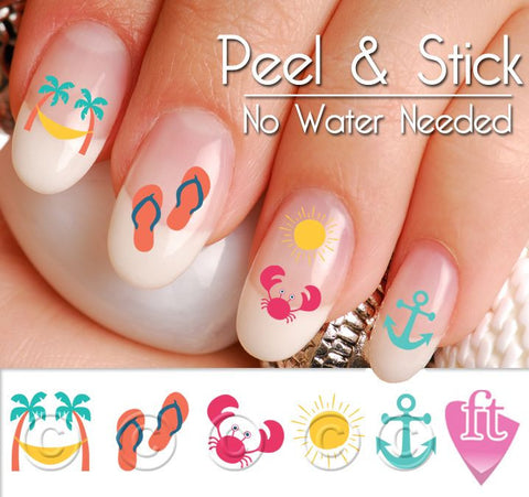 Summer Beach Fun Mix Nail Art Decal Sticker Set - The FinderThings