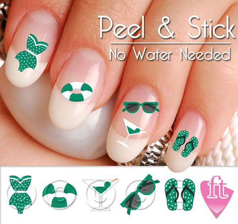 Summer Beach Bikini Mix Nail Art Decal Sticker Set