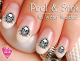 Skull and Spade Swirl Nail Art Decal Sticker Set
