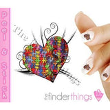 Autism Awareness Ribbon Puzzle Piece and Heart Swirl Nail Art Decal Sticker Set - The FinderThings