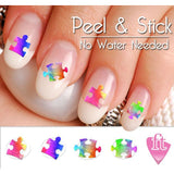 Autism Awareness Puzzle Piece Mix Nail Art Decal Sticker Set