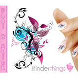 Purple Swirl Flower Abstract Nail Art Decal Sticker Set