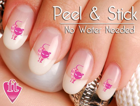 Fashion Cats in Pink Plaid Nail Art Decal Sticker Set