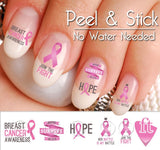 Breast Cancer Awareness Pink Ribbon Nail Art Decal Sticker Set - The FinderThings