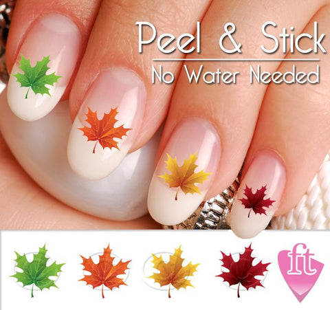 Fall and Autumn Leaf Nail Art Decal Sticker Set