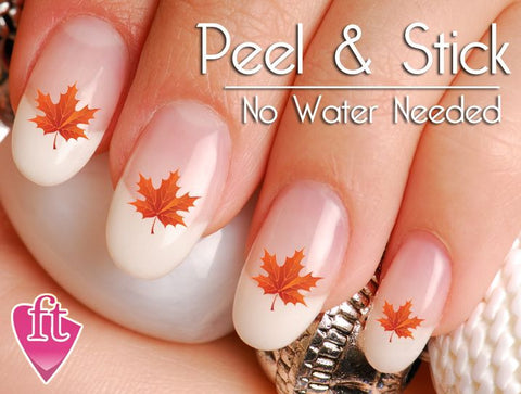 Fall and Autumn Orange Leaf Nail Art Decal Sticker Set - The FinderThings
