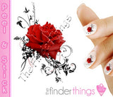 Red Rose Flower Swirl Nail Art Decal Sticker Set - The FinderThings
