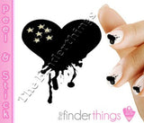 Black Bleeding and Dripping Heart Nail Art Decal Sticker Set