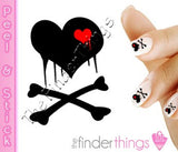 Black Dripping Bleeding Heart and Crossbones Nail Art Decal Sticker Set - The FinderThings