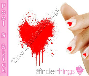 Red Dripping Bleeding Heart Nail Art Decal Sticker Set - The FinderThings