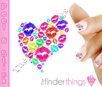 Lips Kiss and Smooches Heart Nail Art Decal Sticker Set
