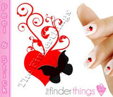 Heart and Butterfly Swirl Nail Art Decal Sticker Set - The FinderThings