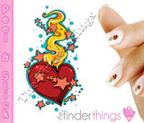 Heart Flames and Stars Nail Art Decal Sticker Set - The FinderThings