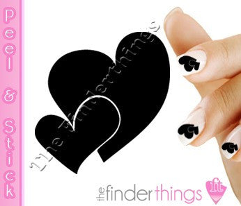Two Black Hearts Nail Art Decal Sticker Set