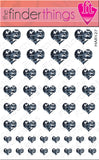 Black and White Camouflage Hearts Nail Art Decal Sticker Set - The FinderThings