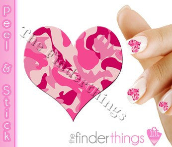 Red and Pink Hearts Camouflage Nail Art Decal Sticker Set - The FinderThings