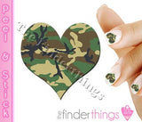 Green Woodland Camouflage Hearts Nail Art Decal Sticker Set - The FinderThings