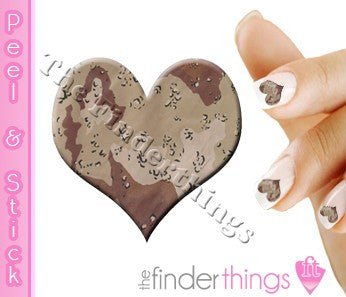 Desert Tan Camouflage Heart Nail Art Decal Sticker Set - The FinderThings