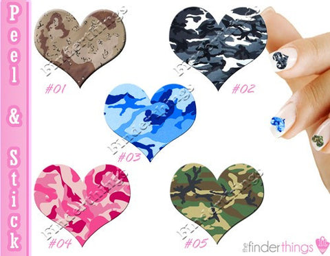 Camouflage Hearts Nail Art Decal Sticker Set - The FinderThings