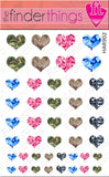 Camouflage Hearts Nail Art Decal Sticker Set