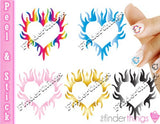 Flaming Hearts Nail Art Decal Sticker Set