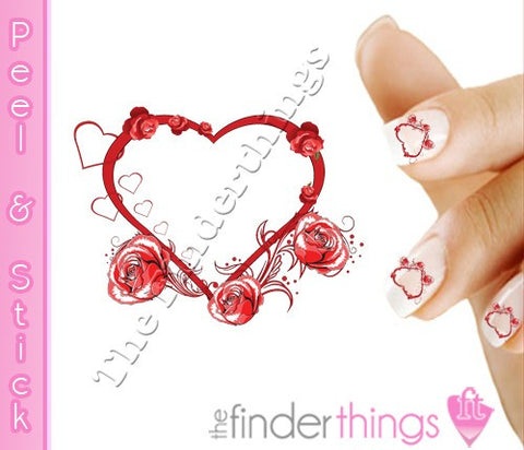 Heart and Rose Scroll Nail Art Decal Sticker Set - The FinderThings