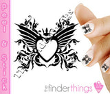 Black Heart and Rose Scroll Nail Art Decal Sticker Set