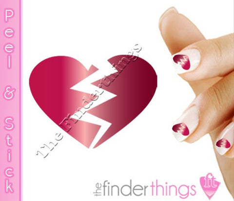 Broken Heart Scroll Nail Art Decal Sticker Set - The FinderThings