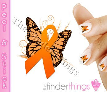 Multiple Sclerosis MS Awareness Ribbon Butterfly Nail Art Decal Sticker Set - The FinderThings