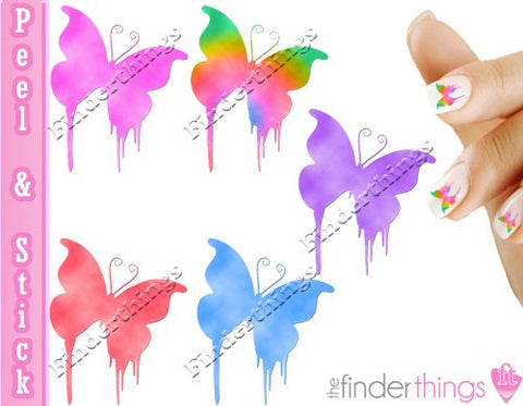 Butterfly Dripping Flourish Nail Art Decal Sticker Set - The FinderThings