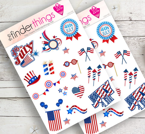 4th of July American USA Stickers for Scrapbook, Planners, and Fun