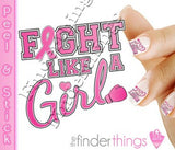 Breast Cancer Awareness Ribbon Fight Like a Girl Support Nail Art Decal Sticker Set - The FinderThings