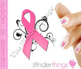 Breast Cancer Awareness Ribbon Swirl Support Nail Art Decal Sticker Set