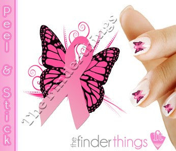 Breast Cancer Awareness Ribbon Butterfly Support Nail Art Decal Sticker Set