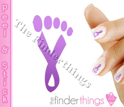Relay for Life Purple Walk Ribbon Support Nail Art Decal Sticker Set