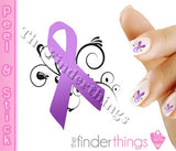 Relay for Life Purple Ribbon Swirl Support Nail Art Decal Sticker Set - The FinderThings
