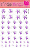 Relay for Life Purple Ribbon Swirl Support Nail Art Decal Sticker Set
