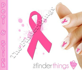 Breast Cancer Awareness Pink Ribbon Splash Support Nail Art Decal Sticker Set - The FinderThings