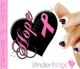 Breast Cancer Awareness Pink Ribbon Heart Hope Support Nail Art Decal Sticker Set - The FinderThings
