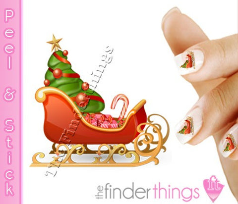 Christmas Santa Sleigh and Presents Nail Art Decal Sticker Set - The FinderThings