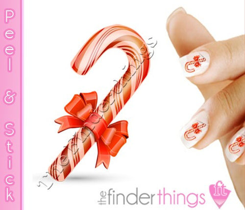 Christmas Candy Cane Nail Art Decal Sticker Set