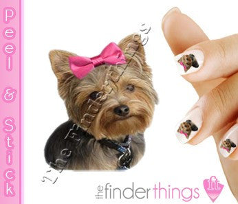 Pink Bow Yorkie Terrier Nail Art Decal Sticker Set - The FinderThings