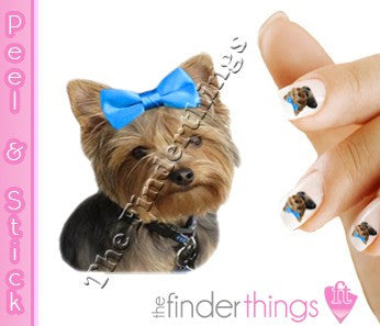 Blue Bow Yorkie Terrier Nail Art Decal Sticker Set