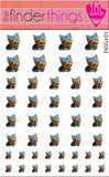 Blue Bow Yorkie Terrier Nail Art Decal Sticker Set - The FinderThings