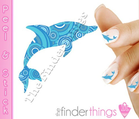Blue Dolphin Swirl Nail Art Decal Sticker Set - The FinderThings