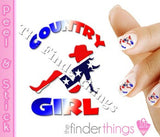 Country Girl Rebel Cowgirl Nail Art Decal Sticker Set - The FinderThings